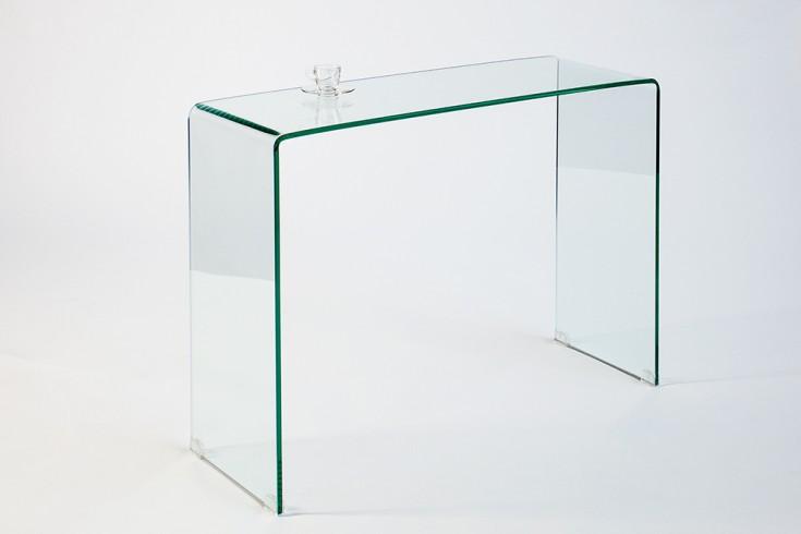 Extravaganter Glas Konsolentisch GHOST 100cm transparent Schreibtisch Ganzglastisch