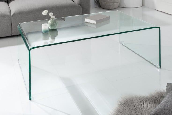 Extravaganter Glas Couchtisch FANTOME 110cm transparent