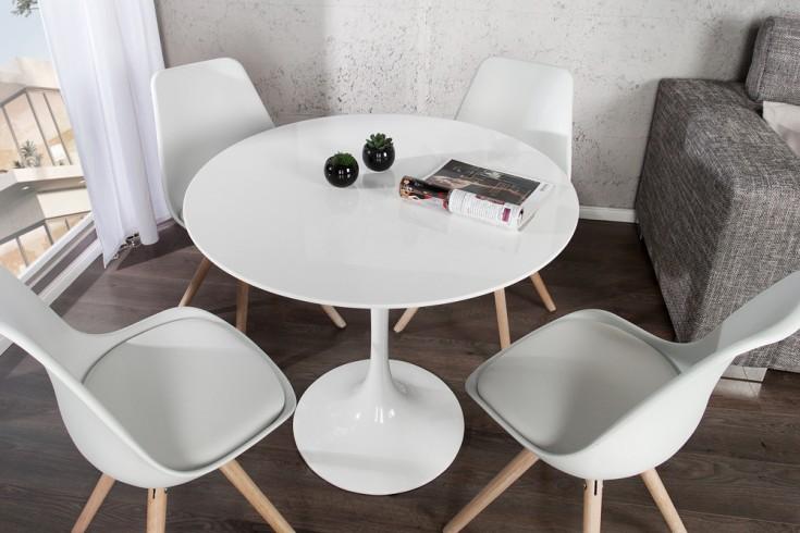 stylischer esstisch signum 90cm rund wei hochglanz puristisch riess ambiente onlineshop. Black Bedroom Furniture Sets. Home Design Ideas
