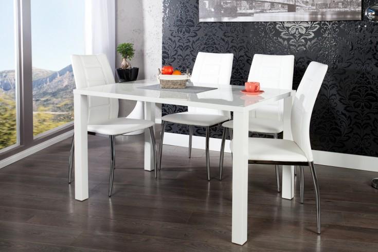 Design Esstisch Bistrotisch LUCENTE Hochglanz weiß 120cm