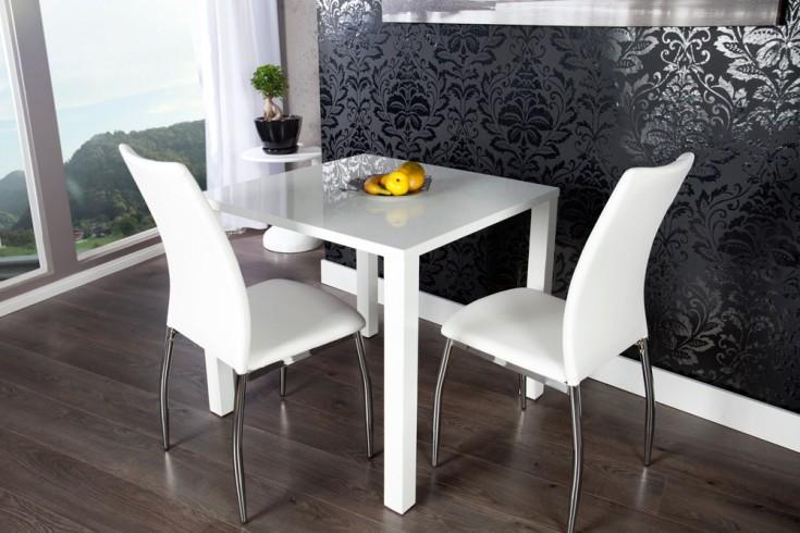 Design Bistrotisch LUCENTE Hochglanz weiß Esstisch 80 x 80cm