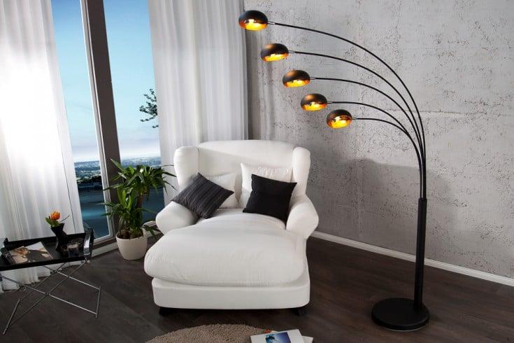 Design Bogenlampe FIVE LIGHTS schwarz/gold Stehlampe Bogenleuchte