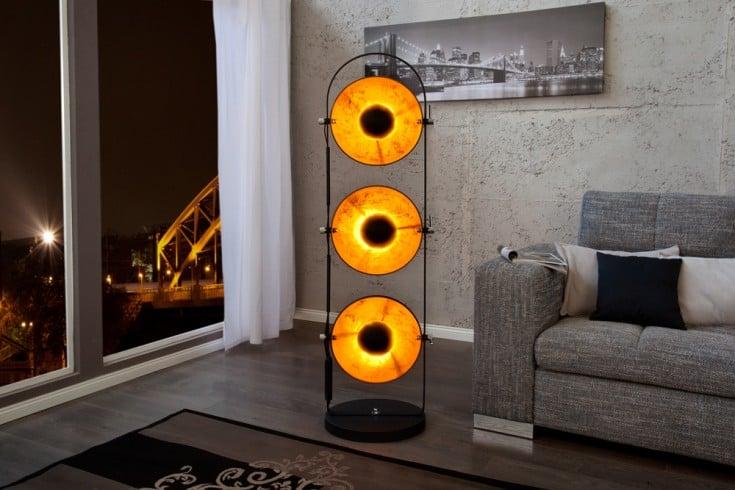 Design Stehlampe STUDIO 3 Lampenschirme schwarz Blattgold-Optik