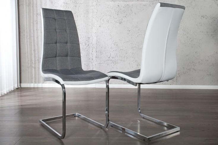 Edler Freischwinger Stuhl LONDON grau und weiß mit Steppung Strukturstoff