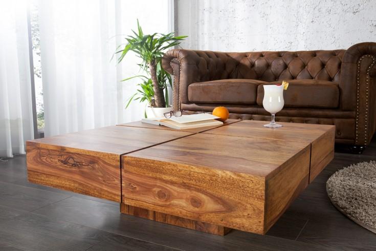 Exklusiver Design Couchtisch BOLT 80cm sheesham stone finish