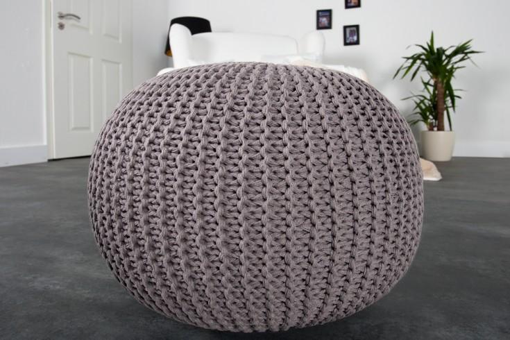 design strick pouf leeds grau 50cm hocker baumwolle in. Black Bedroom Furniture Sets. Home Design Ideas