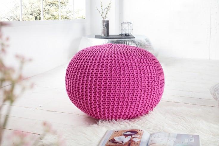 Design Strick Pouf LEEDS 50cm pink Baumwolle handgearbeitetes Sitzkissen