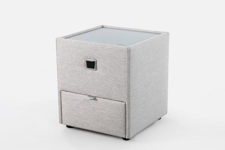nachtkommode in beige beleuchtet riess. Black Bedroom Furniture Sets. Home Design Ideas