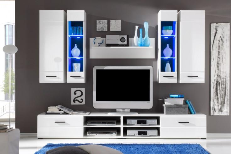 Design Wohnwand PRIMACY II weiß inkl. LED Glaskanten Beleuchtung