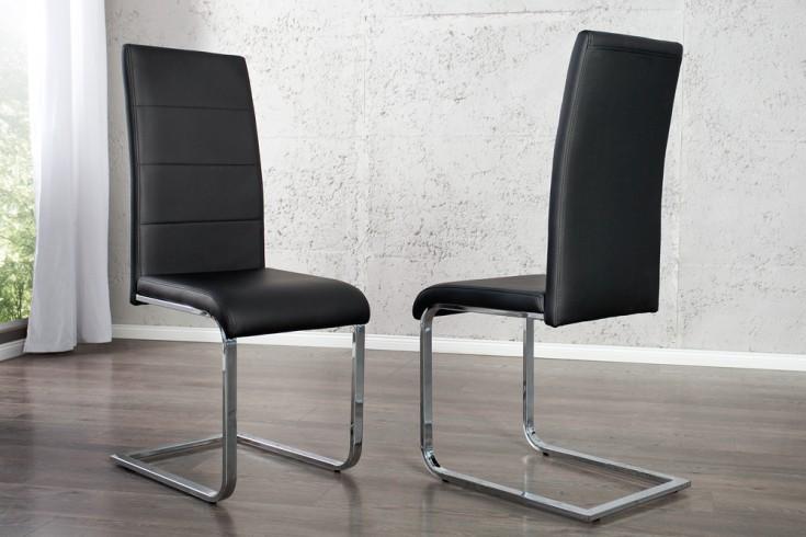 Moderner design freischwinger stuhl manhattan schwarz for Design stuhl freischwinger
