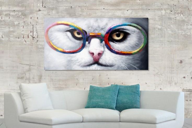 Hochwertiges handgemaltes Ölgemälde CHESHIRE CAT Bild auf Keilrahmen und Canvas Leinengewebe 60x120 cm Katze