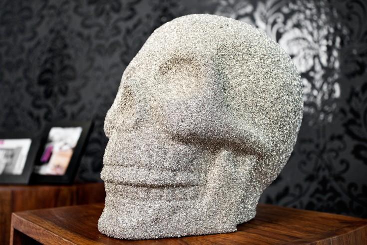 Design Skulptur Schädel SKULL glitzernd silber