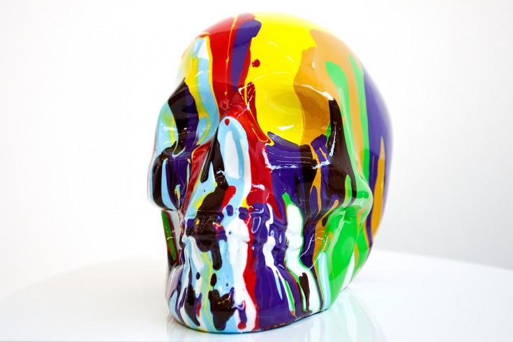 Bunte Skulptur POP ART SKULL bunter Kunst Totenkopf handbemalt