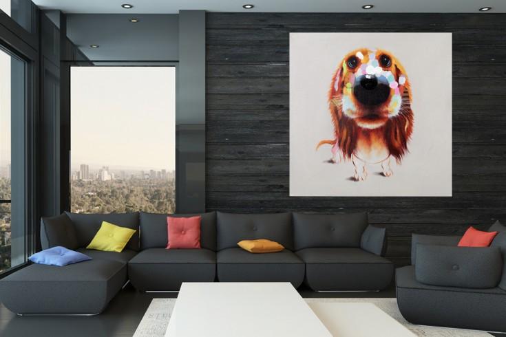 Hochwertiges handgemaltes Ölgemälde POP ART BELLO Bild auf Keilrahmen und Canvas Leinengewebe 80x80 cm Hund