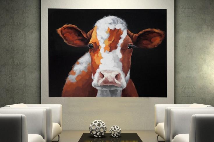 Hochwertiges handgemaltes Ölgemälde POP ART COW Bild auf Keilrahmen und Canvas Leinengewebe 90x120 cm Kuh