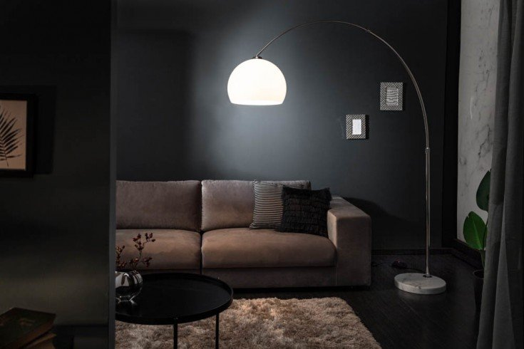 Ausziehbare Bogenlampe LOUNGE DEAL 180-200cm weiß dimmbar Stehlampe