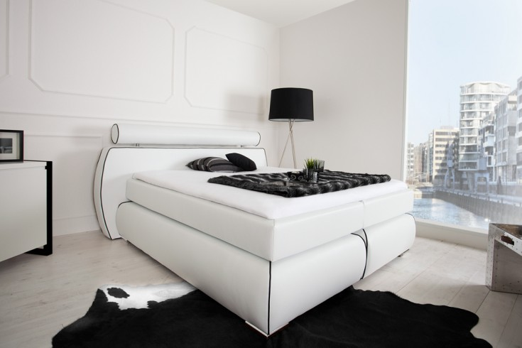 modernes boxspringbett space 180x200 cm wei inkl. Black Bedroom Furniture Sets. Home Design Ideas