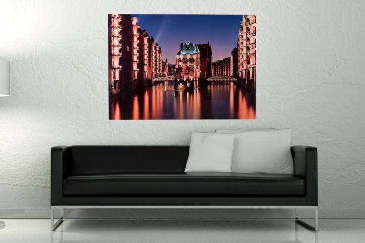 hochwertiger kunstdruck hamburg speicherstadt 50x70cm wandbild aus glas riess ambiente onlineshop. Black Bedroom Furniture Sets. Home Design Ideas