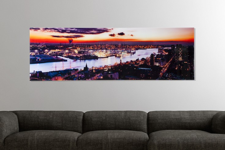 hochwertiger kunstdruck hamburg st pauli sonnenuntergang 45x140cm wandbild aus glas riess. Black Bedroom Furniture Sets. Home Design Ideas