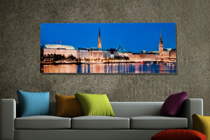 hochwertiges bild hamburg binnenalster 45x140cm kunstdruck auf glas riess. Black Bedroom Furniture Sets. Home Design Ideas