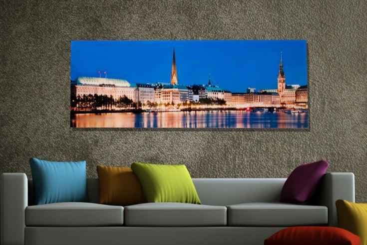 Hochwertiges Bild HAMBURG BINNENALSTER 45x140cm Kunstdruck auf Glas