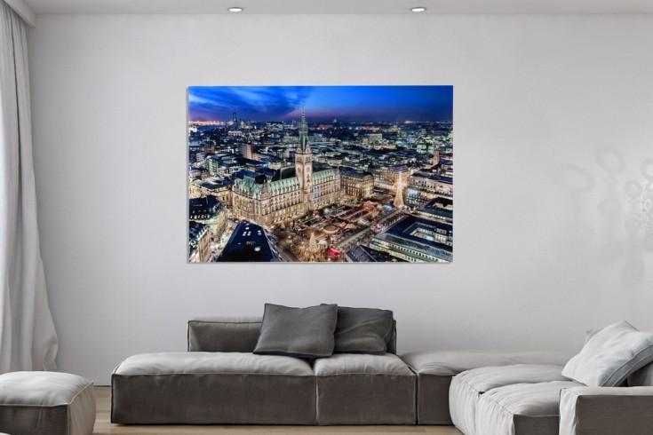 Hochwertiger Kunstdruck HAMBURGER RATHAUS XL 100x140cm Wandbild aus Glas