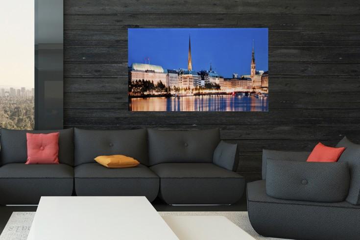 hochwertiges bild hamburg binnenalster 50x70cm kunstdruck auf glas riess. Black Bedroom Furniture Sets. Home Design Ideas