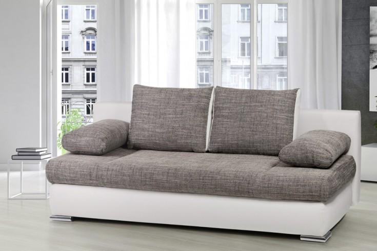 Stylisches Design Schlafsofa ORLANDO grau-weiß Strukturstoff Federkern mit Bettkasten