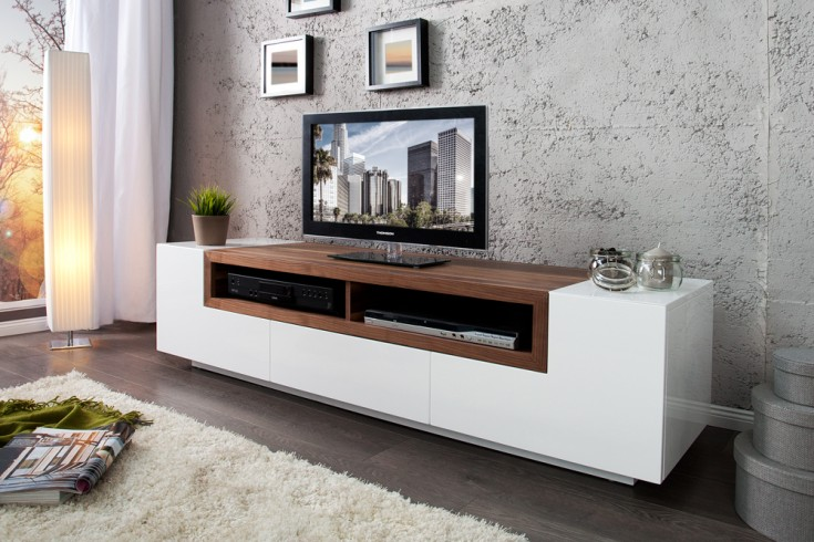 tv board empire wei hochglanz walnuss absetzungen echtholz furnier. Black Bedroom Furniture Sets. Home Design Ideas