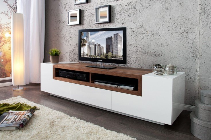 tv board empire wei hochglanz walnuss absetzungen echtholz furnier 165cm riess ambiente. Black Bedroom Furniture Sets. Home Design Ideas