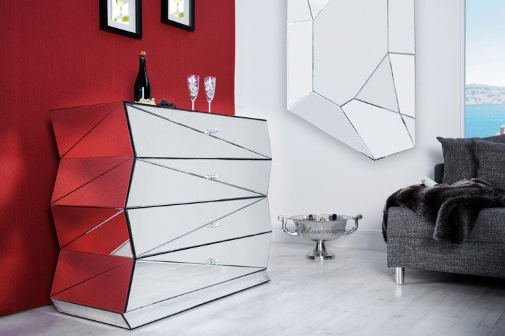 verspiegelte design kommode vision 100 cm sideboard spiegelglas riess. Black Bedroom Furniture Sets. Home Design Ideas