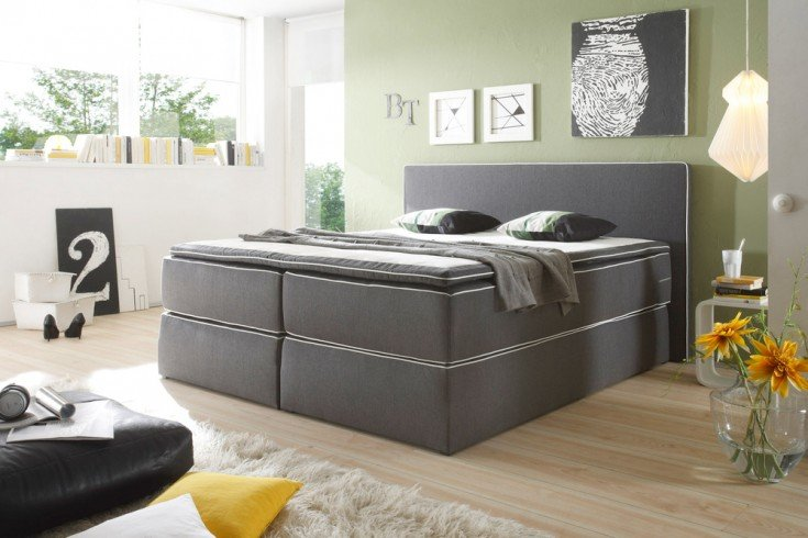 hochwertiges boxspringbett vermont 180x200 cm anthrazit. Black Bedroom Furniture Sets. Home Design Ideas