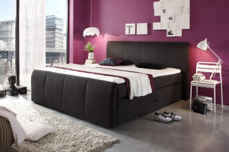 boxspringbett cabrera mit bettkasten anthrazit 180x200cm federkernpolsterung hotelbett riess. Black Bedroom Furniture Sets. Home Design Ideas