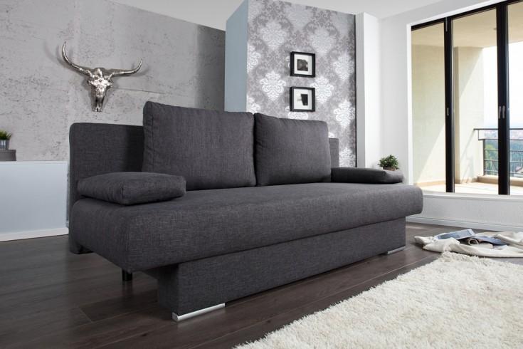 Design Schlafsofa BARCLAYS anthrazit 200cm Bettkasten Gästebett-Funktion