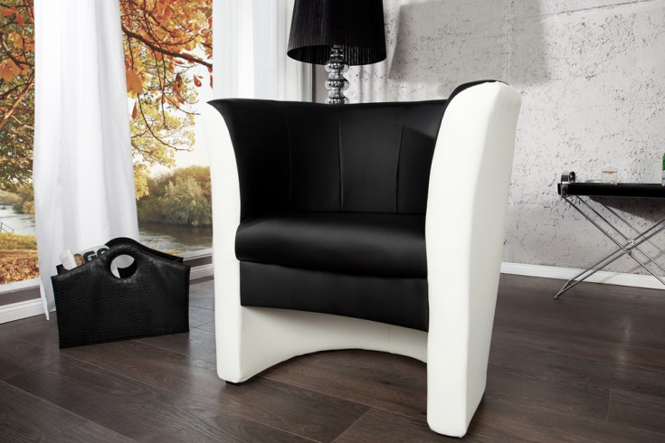 stylischer cocktailsessel motion schwarz weiss sessel clubsessel riess ambiente onlineshop. Black Bedroom Furniture Sets. Home Design Ideas