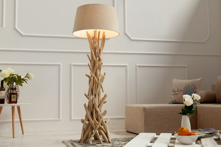 Design Treibholz Stehlampe CARA 155 cm sand mit hochwertigem Natur Leinen Schirm