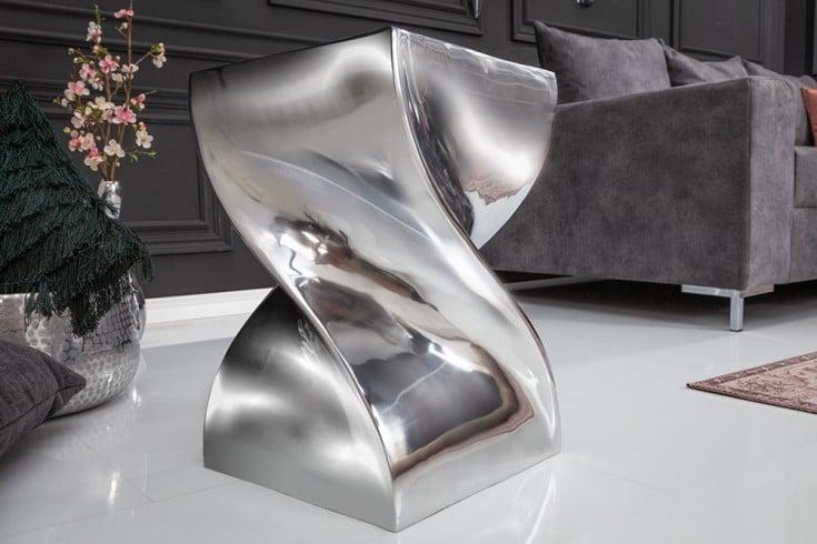 Design Beistelltisch TWIST 45cm silber poliert Hocker Modern Design
