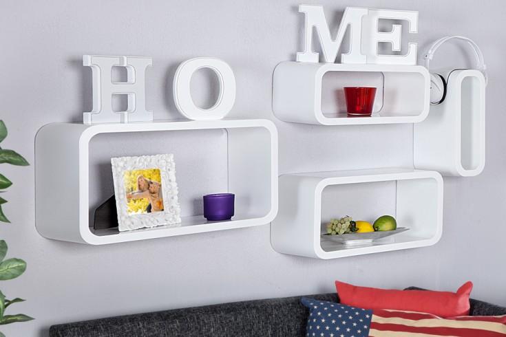 4er set design regal club cube large 45cm wei retro lounge wandregal riess ambiente onlineshop. Black Bedroom Furniture Sets. Home Design Ideas
