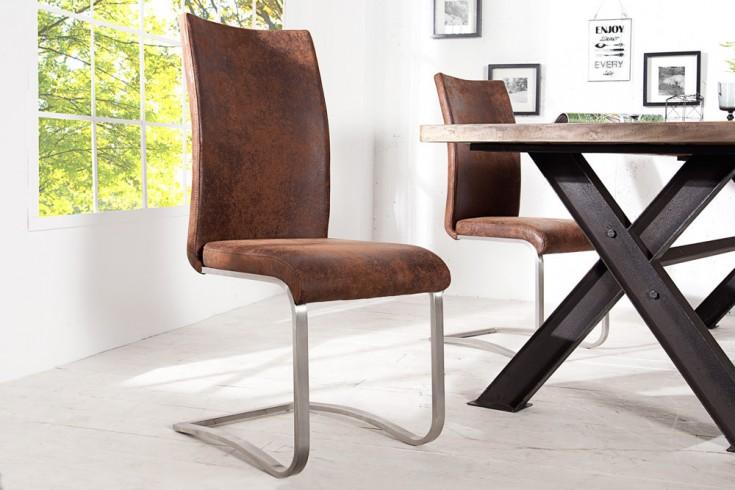 Premium Freischwinger Stuhl ARCO antik look braun mit gebürstetem Edelstahlrahmen und bestem Sitzkomfort