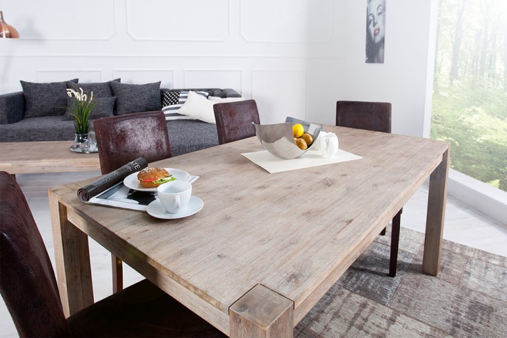 massiver esstisch montreal akazie teakgrau weiss gekalkt 160 cm massivholz riess ambiente. Black Bedroom Furniture Sets. Home Design Ideas