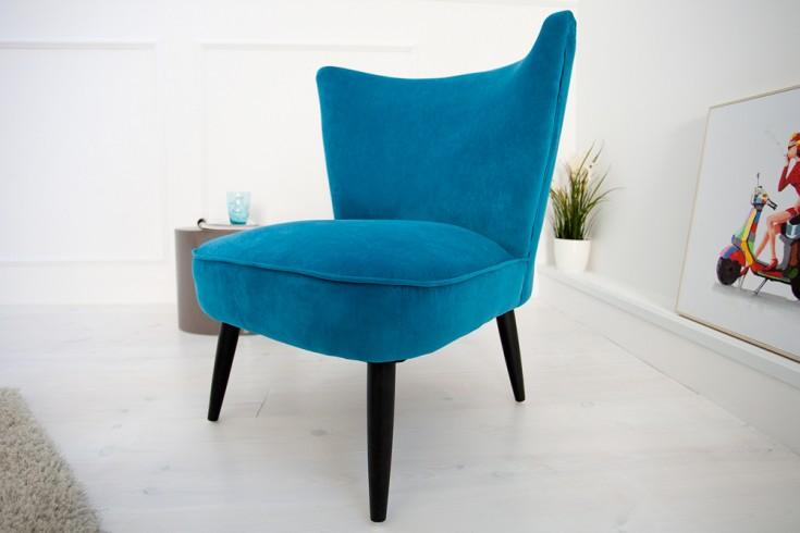 Retro Sessel SIXTIES Samtstoff blau Polstersessel 60er Jahre Stil