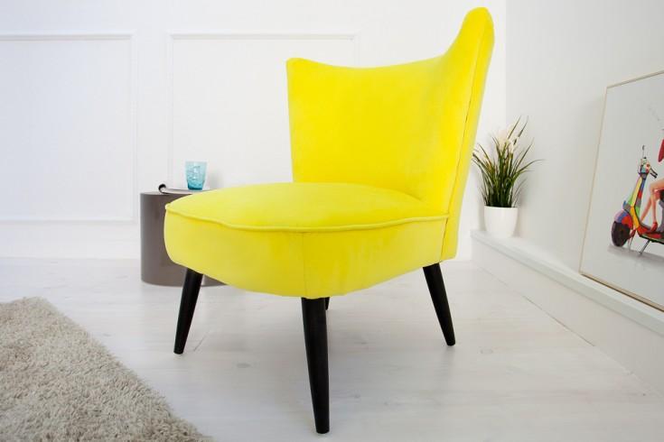 Stylischer Retrosessel SIXTIES Samtstoff limette Polstersessel Retro 60er gelb
