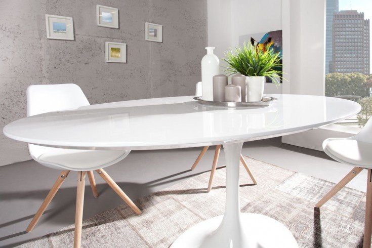 Stylischer Esstisch SIGNUM 160cm oval weiß puristisch