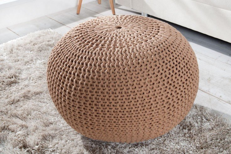 design strick pouf leeds coffee 50cm hocker baumwolle in. Black Bedroom Furniture Sets. Home Design Ideas