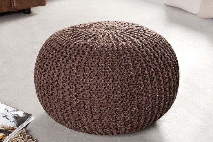 Design Strick Pouf LEEDS dark coffee 50cm Hocker Baumwolle in Handarbeit Sitzkissen