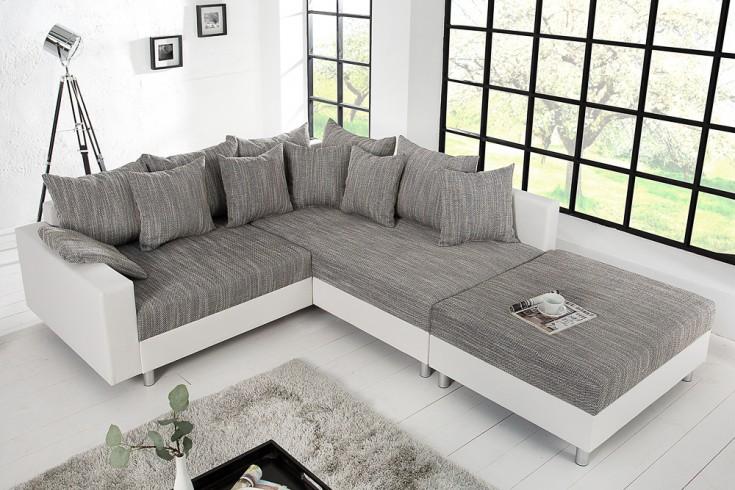Modernes Ecksofa LOFT 220cm grau weiß inkl. Hocker & Kissen beidseitig aufbaubar