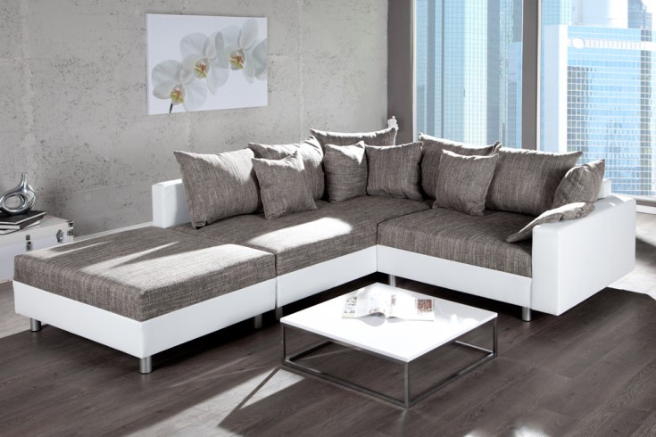 design ecksofa mit hocker loft weiss strukturstoff grau federkern sofa ot beidseitig aufbaubar. Black Bedroom Furniture Sets. Home Design Ideas