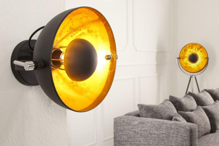 Moderne Wandleuchte STUDIO schwarz gold Lampe mit Blattgold-Optik