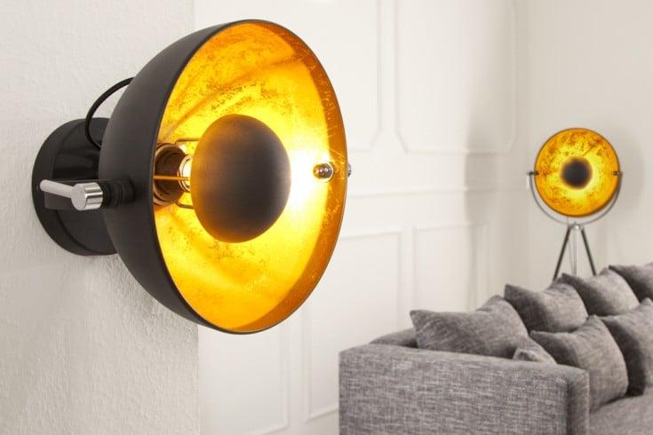 Elegante Wandleuchte STUDIO 38cm schwarz Blattgold-Optik neigbarer Schirm
