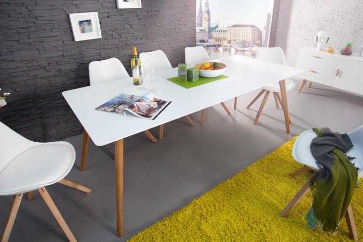 Esstisch Retro Design ~ Design Retro Esstisch SCANDINAVIA MEISTERSTÜCK 200cm weiß Echt Eiche  Riess